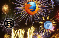 illustration : Firefox, Rust langage du nouveau moteur Servo, WebKit, fond par Billy Hicks. CC-BY-SA. Source : Wikimedia Commons.