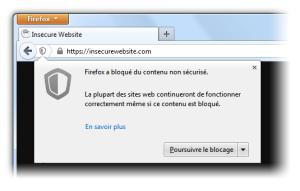 Blocage du contenu mixte dans Firefox