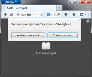 Cliquer pour activer Silverlight dans Firefox 26