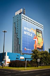 Panneau publicitaire Firefox OS à Varsovie 10 juillet 2013