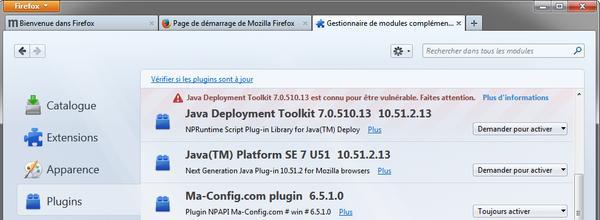Plugins dans Firefox 26