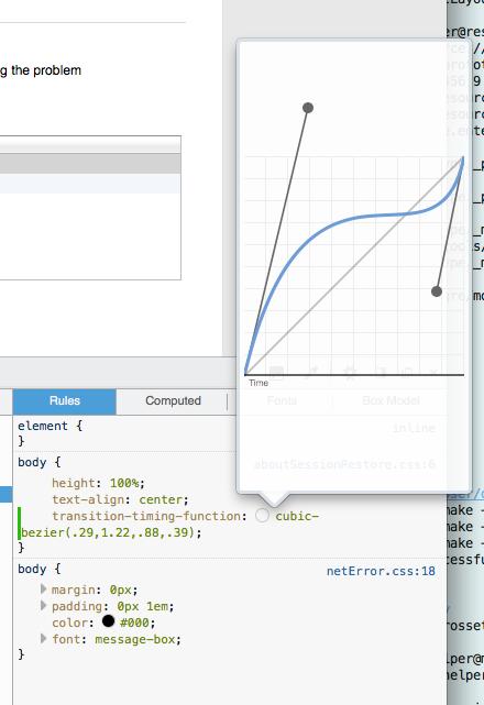 Éditeur de courbes de Bezier cubiques dans les outils pour développeurs de Firefox Nightly 33