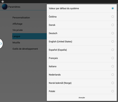 Fennec Nightly 33 : paramètres > langue > menu