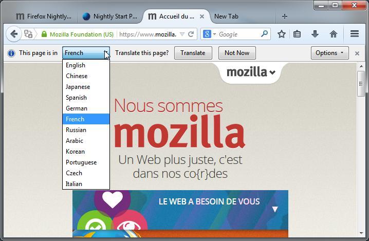 Intelligo fr Firefox Nightly 32
