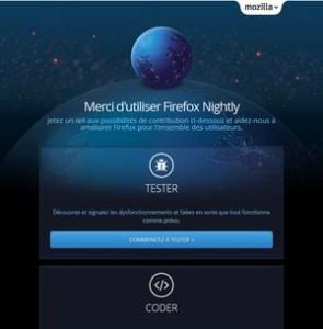 page de premier démarrage de Firefox Nightly 33