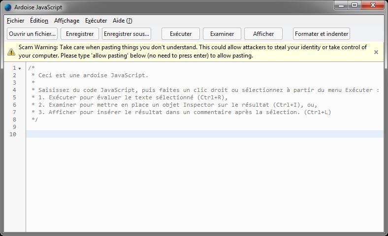 self-xss avertissement  Ardoise JavaScript