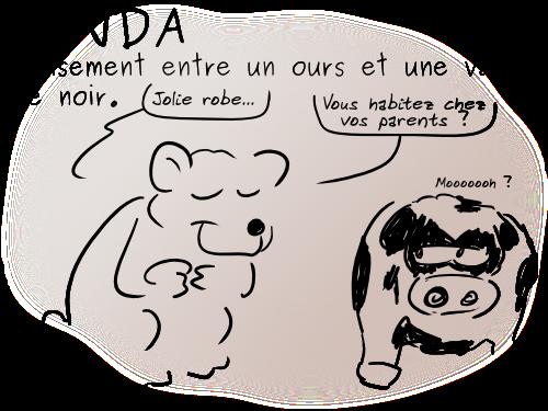 Panda : Croisement entre un ours et une vache pie noir.
