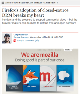 Flash – Firefox's adoption of closed-source DRM breaks my heart – The Guardian