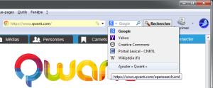 Découverte automatique des moteurs de recherche (Qwant) dans SeaMonkey 2.26.1