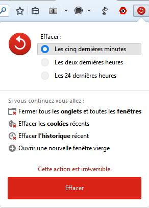 bouton Effacer des données introduit dans Firefox 33.1