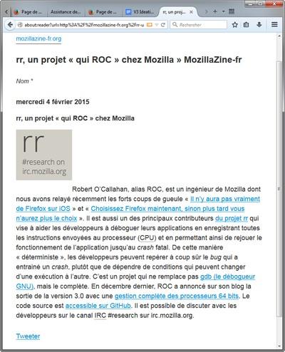 Mode lecture dans Firefox Nightly sur MozillaZine-fr