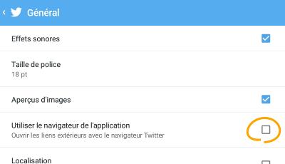 Twitter navigateur intégré