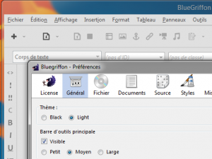 Bluegriffon 2.1.1 : Préférences > thème clair