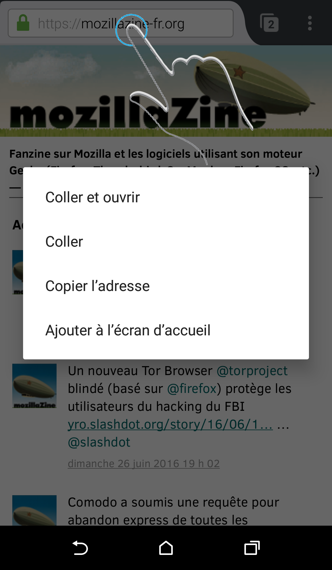 Firefox Android - copier l'adresse, coller et ouvrir